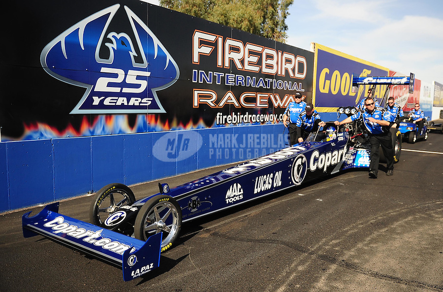 Feb. 19, 2010; Chandler, AZ, USA; NHRA top fuel dragster driver Brandon Bernstein during qualifying for the Arizona Nationals at Firebird International Raceway. Mandatory Credit: Mark J. Rebilas-