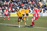 Billy Kee of Accrington Stanley scores his side's first goal during the Sky Bet League 2 match between Newport County and Accrington Stanley at Rodney Parade, Newport, Wales on 28 March 2016. Photo by Mark  Hawkins.