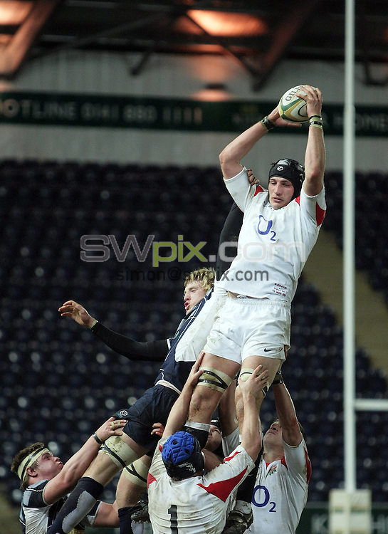 PICTURE BY VAUGHN RIDLEY/SWPIX.COM - Rugby Union - U20 Six Nations - Scotland v England - Falkirk, Scotland - 07/03/08...Copyright - Simon Wilkinson - 07811267706..Scotland's Josh Brown and England's Scott Hobson.