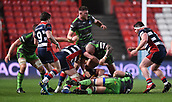 23rd March 2018, Ashton Gate, Bristol, England; RFU Rugby Championship, Bristol versus Yorkshire Carnegie; Craig Mitchell of Yorkshire Carnegie seeks to turn the ball over at the ruck but is driven off by Joe Joyce of Bristol