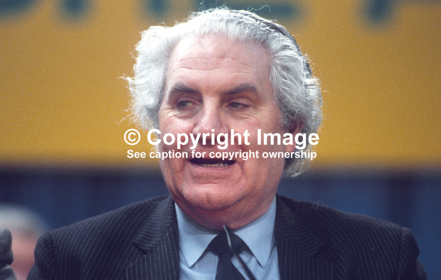 John Wilson, TD, transport spokesman, Fianna Fail, opposition party, Rep of Ireland, photographed at April 1984 Ard Fheis i.e. party conference, 19840048JW1.<br />