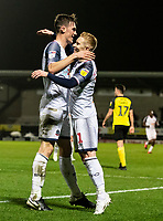 Bolton Wanderers' Ryan Delaney celebrates scoring his side's first goal with team mate Ali Crawford (right) <br /> <br /> Photographer Andrew Kearns/CameraSport<br /> <br /> The Premier League - Leicester City v Aston Villa - Monday 9th March 2020 - King Power Stadium - Leicester<br /> <br /> World Copyright © 2020 CameraSport. All rights reserved. 43 Linden Ave. Countesthorpe. Leicester. England. LE8 5PG - Tel: +44 (0) 116 277 4147 - admin@camerasport.com - www.camerasport.com