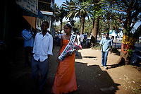 Salam, 19 years old, winner of the Miss Obama beauty pageant held at the Obama Cafe In Amhara's regional capital Bahir Dar walks own the city's main street  on President Barack Obama's inauguration day, Tuesday January 20 2009..