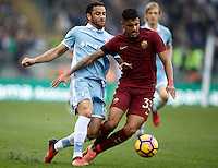 Calcio, Serie A: Lazio vs Roma. Roma, stadio Olimpico, 4 dicembre 2016.<br /> Roma&rsquo;s Emerson Palmieri, right, is challenged by Lazio's Felipe Anderson during the Italian Serie A football match between Lazio and Rome at Rome's Olympic stadium, 4 December 2016. Roma won 2-0.<br /> UPDATE IMAGES PRESS/Isabella Bonotto