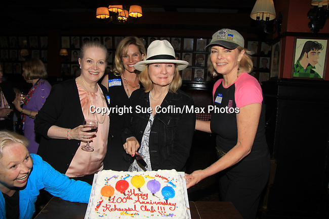 """Shannon Sturges (Days Molly, Passions, Port Charles) (2nd L), Denise Pence (Guiding Light """"Katie Parker"""") (R), Joanne Dorian (One Life To Live """"Vikki Buchanan"""") (L), Constance McCashan (Knots Landing """"Laura Avery Sumner"""") (hat) were a part of The Rehearsal Club Centennial Week starting on June 27, 2013 at The Lincoln Center Library followed by Sardis. The Tribeca Screening Room hosted by Blythe Danner who was a member of The Rehearsal Club started in 1913 with this year being 100 years. Carol Burnett was a member also.  (Photo by Sue Coflin/Max Photos)"""