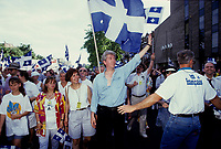 Montreal (Qc) CANADA - File Photo - circa 1992<br /> <br /> <br /> Gilles Duceppe, deputy, the Bloc Quebecois<br /> take part in the Saint-Jean Baptiste parade, June 24<br /> <br /> photo (c)  Images Distribution