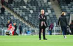Stockholm 2014-09-28 Fotboll Superettan Hammarby IF - IK Sirius :  <br /> Hammarbys tr&auml;nare Nanne Bergstrand st&aring;r i mittcirkeln efter matchen mellan Hammarby och Sirius och tittar upp mot l&auml;ktarna i Tele2 Arena<br /> (Foto: Kenta J&ouml;nsson) Nyckelord:  Superettan Tele2 Arena Hammarby HIF Bajen Sirius IKS tr&auml;nare manager coach inomhus interi&ouml;r interior