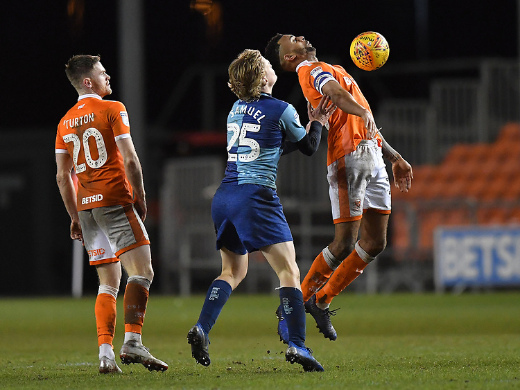 Blackpool's Curtis Tilt under pressure from Wycombe Wanderers' Alex Samuel<br /> <br /> Photographer Dave Howarth/CameraSport<br /> <br /> The EFL Sky Bet League One - Blackpool v Wycombe Wanderers - Tuesday 29th January 2019 - Bloomfield Road - Blackpool<br /> <br /> World Copyright © 2019 CameraSport. All rights reserved. 43 Linden Ave. Countesthorpe. Leicester. England. LE8 5PG - Tel: +44 (0) 116 277 4147 - admin@camerasport.com - www.camerasport.com