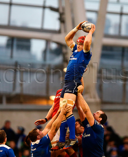 02.04.2016. Aviva Stadium, Dublin, Ireland. Guinness Pro12.  Leinster versus Munster. Josh van der Flier (Leinster) gathers the lineout ball.