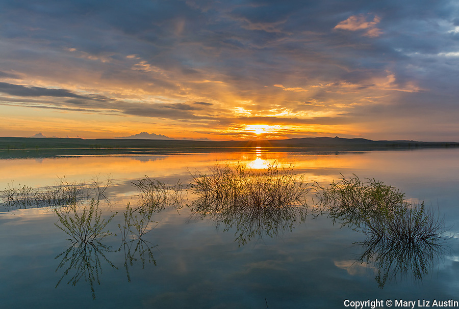 Belle Fourche National Wildlife Refuge, South Dakota: Sunset and reflections, Rocky Point Recreation Area