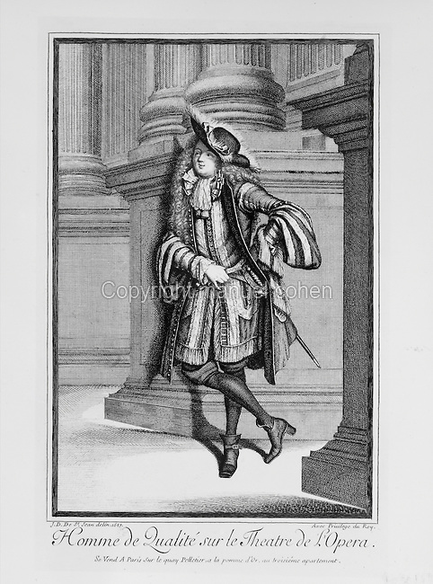 High class man at the Theatre de l'Opera in Paris, engraving by Jean Dieu de Saint Jean Delin, 1687. Copyright © Collection Particuliere Tropmi / Manuel Cohen