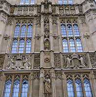 The Victorian gothic facade of the House of Lords, decorated with carved heraldry and figures in niches