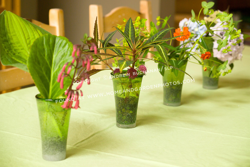 Small green glass vases hold a variety of flowers and greens in this unique tabletop display.