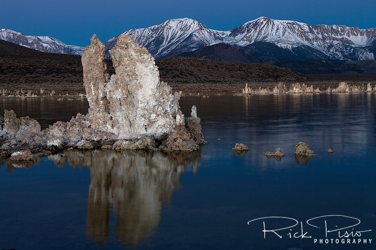 Tufa Towers along Mono Lake's south shore glow in the pre-dawn light. The tufa towers were formed when the area was covered with water. Underwater springs rich in calcium chemically reacted with the carbonates in the lake and over a period of decades created these calcium carbonate, or limestone, towers. Some towers reach heights of over 30 feet. The towers were exposed when water was diverted from Mono Lake to Southern California, drastically lowering the water level.