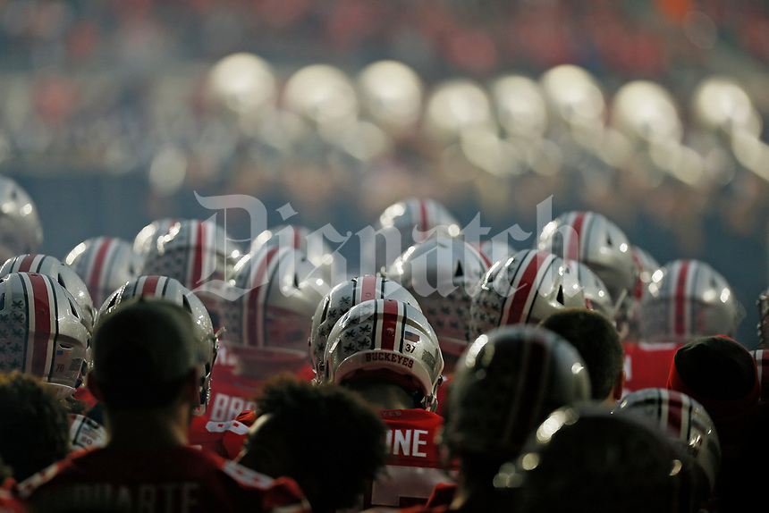 Ohio State Buckeyes takes the field at Ohio Stadium before their game against Illinois Fighting Illini on November 18, 2017.  [Kyle Robertson / Dispatch]
