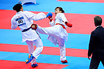 Ayumi Uekusa (JPN), <br /> AUGUST 25, 2018 - Karate : <br /> Women's Kumite +68kg Semi-final <br /> at Jakarta Convention Center Plenary Hall <br /> during the 2018 Jakarta Palembang Asian Games <br /> in Jakarta, Indonesia. <br /> (Photo by Naoki Nishimura/AFLO SPORT)