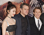 HOLLYWOOD, CA - FEBRUARY 15: (L-R) Actors Jing Tian; Matt Damon; Willem Dafoe arrives at the premiere of Universal Pictures' 'The Great Wall' at TCL Chinese Theatre IMAX on February 15, 2017 in Hollywood, California.