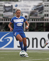 Boston Breakers forward Kyah Simon (17) brings the ball forward.  In a National Women's Soccer League Elite (NWSL) match, Sky Blue FC (white) defeated the Boston Breakers (blue), 3-2, at Dilboy Stadium on June 16, 2013.