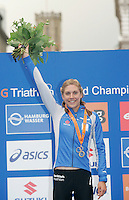 31 AUG 2007 - HAMBURG, GER - Hollie Avil celebrates her victory - Junior Womens World Triathlon Championships. (PHOTO (C) NIGEL FARROW)