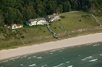 aerial photograph lakefront homes Michigan shoreline, Lake Michigan