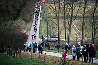 Peloton riding the Haaghoek cobbles<br /> <br /> 75th Omloop Het Nieuwsblad 2020 (BEL)<br /> Men Elite Race<br /> Gent – Ninove: 200km<br /> <br /> ©kramon