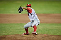 Williamsport Crosscutters relief pitcher Luis Ramirez (15) delivers a pitch during a game against the Batavia Muckdogs on June 21, 2018 at Dwyer Stadium in Batavia, New York.  Batavia defeated Williamsport 6-5.  (Mike Janes/Four Seam Images)