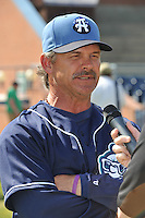 Joe Mikulik #20 Manager of the Asheville Tourists talks with the press during media day at McCormick Field on April 4, 2011 in Asheville, North Carolina.  Photo by Tony Farlow / Four Seam Images..