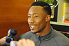 Brandon Marshall #15 New York Jets wide receiver speaks to the media in the locker room after team practice at the Atlantic Health Jets Training Jets Training Center in Florham Park, NJ on Wednesday, Dec. 30, 2015.