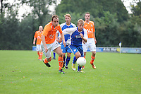 "VOETBAL: LEMMER: Sportpark ""De Rien"", 21-09-2013, CVVO - VVI uitslag 2-2, Jitze Lindeboom #6 | VVI, Derk Mansink #10 | CVVO, ©foto Martin de Jong"