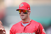 Harrisburg Senators outfielder Bryce Harper #34 before a game against the Erie SeaWolves at Jerry Uht Park on August 7, 2011 in Erie, Pennsylvania.  Harrisburg defeated Erie 6-1.  (Mike Janes/Four Seam Images)