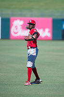Cincinnati Reds outfield Zeke White (35) warms up in the outfield prior to an Instructional League game against the Kansas City Royals on October 2, 2017 at Surprise Stadium in Surprise, Arizona. (Zachary Lucy/Four Seam Images)