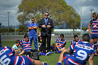 HKRFU chief executive Corey Kennett talks to the team after the 2018 Heartland Championship Lochore Cup rugby semifinal between Horowhenua Kapiti and Mid-Canterbury at Levin Domain in Levin, New Zealand on Saturday, 20 October 2018. Photo: Dave Lintott / lintottphoto.co.nz