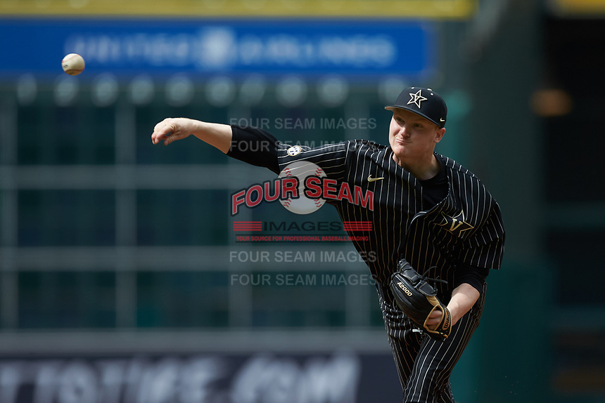 Vanderbilt Commodores starting pitcher Drake Fellows (66) delivers a pitch to the plate against the Sam Houston State Bearkats in game one of the 2018 Shriners Hospitals for Children College Classic at Minute Maid Park on March 2, 2018 in Houston, Texas. The Bearkats walked-off the Commodores 7-6 in 10 innings.   (Brian Westerholt/Four Seam Images)