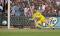 Jon Busch attempts to make the save. The San Jose Earthquakes defeated Chivas USA 6-5 in shootout after drawing 0-0 in regulation time to win the inagural Sacramento Cup at Raley Field in Sacramento, California on June 12, 2010.