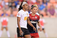 Houston, TX - Sunday Oct. 09, 2016: Jessica McDonald, Ali Krieger during the National Women's Soccer League (NWSL) Championship match between the Washington Spirit and the Western New York Flash at BBVA Compass Stadium. The Western New York Flash win 3-2 on penalty kicks after playing to a 2-2 tie.