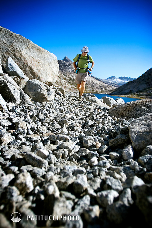 John Stamstad running through the Evolution Basin during his 2005 record attempt of the John Muir Trail. The Evolution Basin comes at mile 95, at this point John had not yet slept and had been on the run for 45 hours.