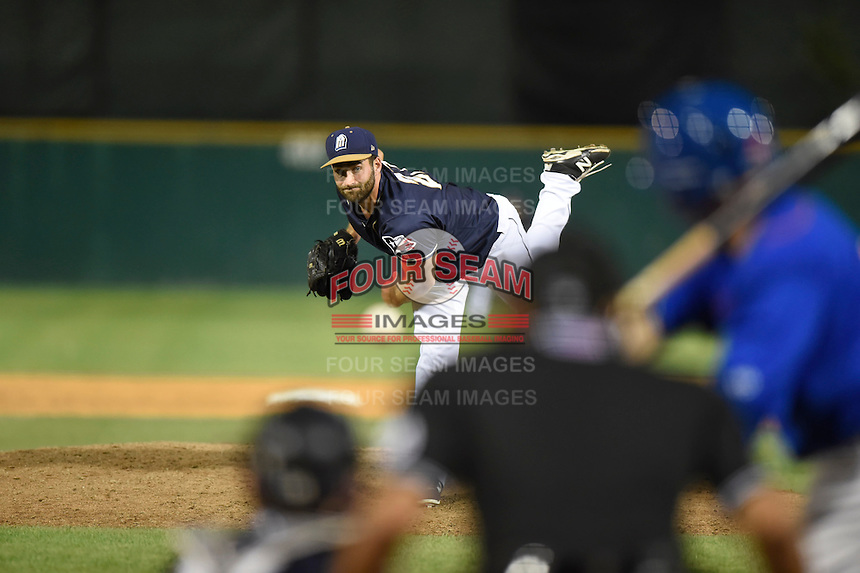 ***Temporary Unedited Reference File***San Antonio Missions relief pitcher Brandon Alger (27) during a game against the Midland RockHounds on April 21, 2016 at Nelson W. Wolff Municipal Stadium in San Antonio, Texas.  Midland defeated San Antonio 9-2.  (Mike Janes/Four Seam Images)