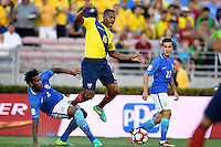 actionn photo during the match Brazil vs Ecuador, Corresponding Group -B- America Cup Centenary 2016, at Rose Bowl Stadium<br /> <br /> Foto de accion durante el partido Brasil vs Ecuador, Correspondiante al Grupo -B-  de la Copa America Centenario USA 2016 en el Estadio Rose Bowl, en la foto: (i-d) Gil de Brasil, Antonio Valencia de Ecuador y Philippe Coutinho de Brasil<br /> <br /> <br /> 04/06/2016/MEXSPORT/Omar Martinez.