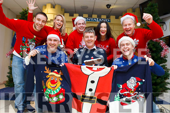 Staff from Radio Kerry and volunteers from Saint Vincent de Paul launched their annual Christmas Jumper fundraiser appeal in CH Chemist on Thursday. Pictured front l-r were: Alan Finn, Jr Locke (SVdP) and Brendan Fuller. Back l-r were: Andrew Morrissey, Elaine Kinsella, Paddy Kevane (SVdP), Melanie O'Sullivan and Pat Kelly.
