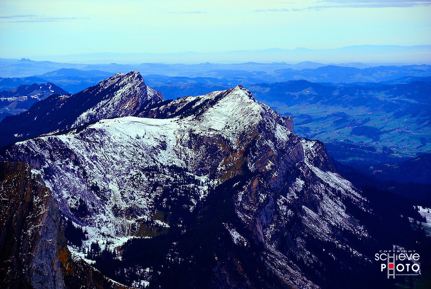 The view from the 6,900 foot Esel peak on Mount Pilatus.