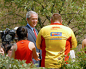 Washington, D.C. - July 26, 2007 -- United States President George W. Bush welcomes an unnamed participant in the Special Olympics Global Law Enforcement Torch Run Ceremony in the Rose Garden of the White House on Thursday, July 26, 2007.<br /> Credit: Ron Sachs / Pool via CNP
