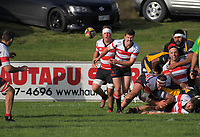 Action from the Waikato premier club rugby match between Hautapu and Otorohanga Sports at Memorial Park in Cambridge, New Zealand on Saturday, 8 June 2019. Photo: Dave Lintott / lintottphoto.co.nz