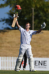NELSON, NEW ZEALAND - MARCH 2: Matt Edmondson from Hawke's Bay Celebrates his 200 runs during the  Hawke Cup Cricket, Nelson V Hawkes Bay,Day Two on March 2 2019 Saxton Oval in Nelson, New Zealand. (Photo by: Evan Barnes Shuttersport Limited)