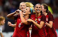 New Orleans, LA - Thursday October 19, 2017: Julie Ertz scores a goal and celebrates with Alex Morgan during an International friendly match between the Women's National teams of the United States (USA) and South Korea (KOR) at Mercedes Benz Superdome.