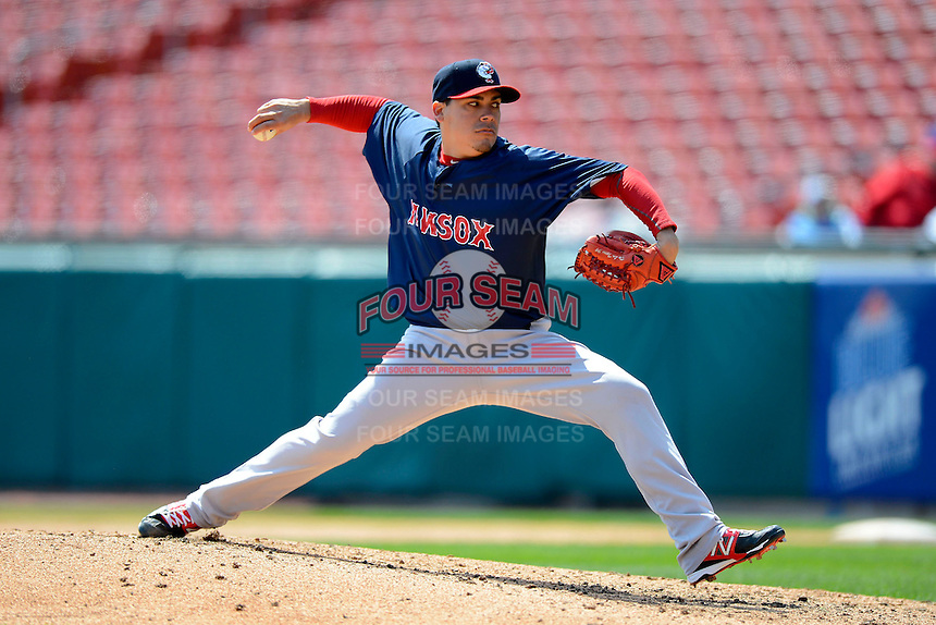 Pawtucket Red Sox pitcher Jose De La Torre #39 during the first game of a doubleheader against the Buffalo Bisons on April 25, 2013 at Coca-Cola Field in Buffalo, New York.  Pawtucket defeated Buffalo 8-3.  (Mike Janes/Four Seam Images)