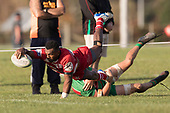 Sunia Vosikata dives over to score his second try for Karaka. Counties Manukau Premier 1 Club Rugby game between Karaka and Waiuku, played at the Karaka Sports Park on Saturday May 11th 2019. Karaka won the game 33 - 14 after leading 14 - 7 at halftime.<br /> Photo by Richard Spranger.