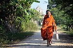 Buddhist monks walk in the village of Dong in northern Cambodia.