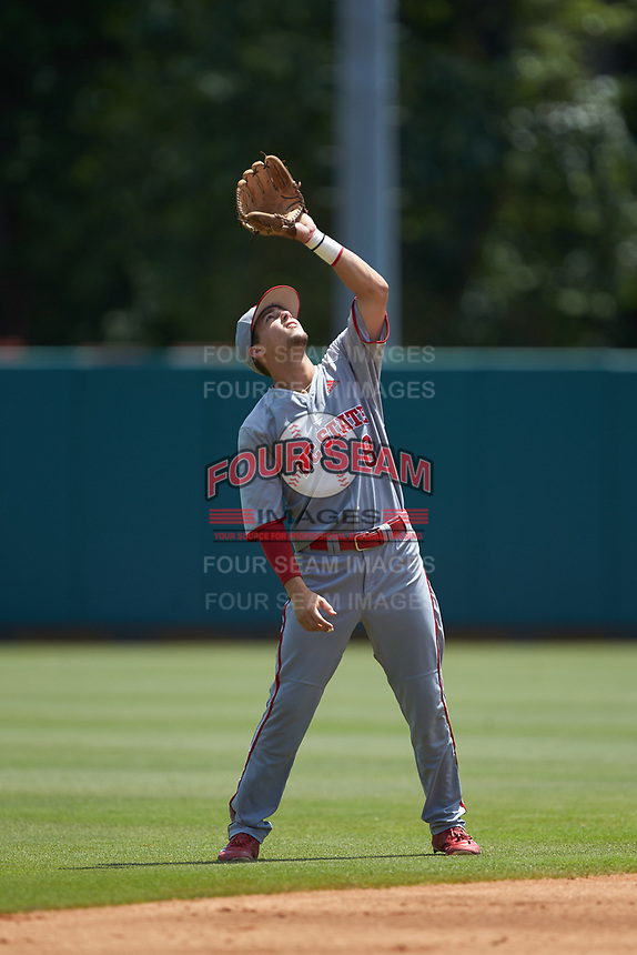 North Carolina State Wolfpack shortstop Will Wilson (8) settles under a fly ball during the game against the Northeastern Huskies at Doak Field at Dail Park on June 2, 2018 in Raleigh, North Carolina. The Wolfpack defeated the Huskies 9-2. (Brian Westerholt/Four Seam Images)