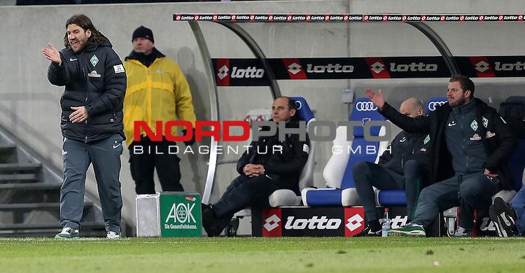 04.02.2015, Wirsol Rhein-Neckar-Arena, Sinsheim, 1. Liga  2014/2015, 19. Spieltag R&uuml;ckrunde, TSG 1899 Hoffenheim vs. SV Werder Bremen<br /> Co-Trainer Torsten Frings (Bremen), Trainer Viktor Skripnik (Bremen), Rouven Schr&ouml;der (Direktor Profifu&szlig;ball Werder Bremen), Florian Kohfeldt (Werder Co Trainer)<br /> Foto &copy; nordphoto /  Bratic