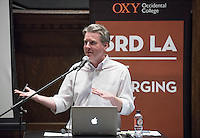 "Professor Christopher Hawthorne of the LA Times hosts the final 3rdLA for Spring 2016, called ""City on Demand: Technology and the New Shape of American Urbanism (Los Angeles)"" on April 27, 2016 in Choi Auditorium. How are new digital services affecting the way we build, live in and move through American cities?<br /> Featuring, from left: Allison Arieff, editorial director for SPUR and writer on architecture and design for the New York Times and other publications; Emily Castor, director of transportation policy, Lyft; Maria Bustillos, a Los Angeles-based critic and journalist; Ashley Z. Hand, transportation technology strategist fellow at the Los Angeles Department of Transportation (LADOT); Matt Buchanan, Eater's Features Editor and Tafarai Bayne, a Los Angeles-based critic and journalist.<br /> (Photo by Marc Campos, Occidental College Photographer)"